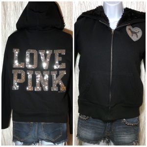 Victoria's Secret Pink Plush Lined Hoodie Bling